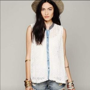 Free People sleeveless lace button down top